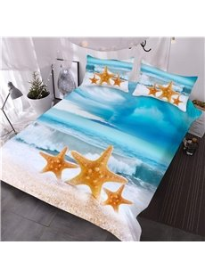 3D Starfish Coastal Beach Comforter 3-Piece Soft Comforter Sets with 2 Pillowcases