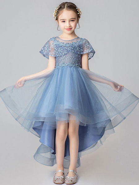 Milanoo Flower Girl Dresses Jewel Neck Tulle Sleeveless Asymmetrical Princess Silhouette Embroidered Kids Party Dresses