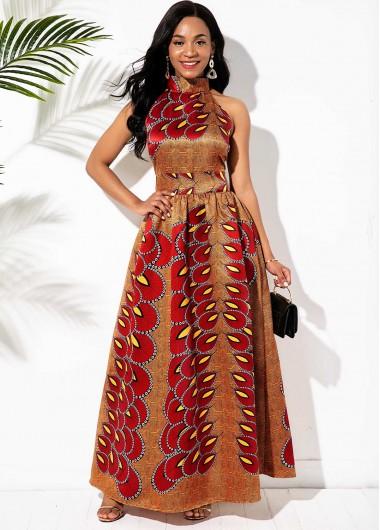 Wedding Guest Dress Bib Neck Bohemian Print Bowknot Back Maxi Dress - L