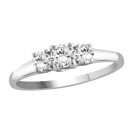 Womens 1 CT. T.W. White Cubic Zirconia Sterling Silver 3-Stone Engagement Ring, 7 , No Color Family