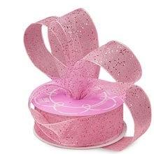 Metal Sparkle Pink Gemstone Dust Sheer Ribbon - 5/8 X 25yd - Sheer Metallic - Embellishments & Trims by Paper Mart