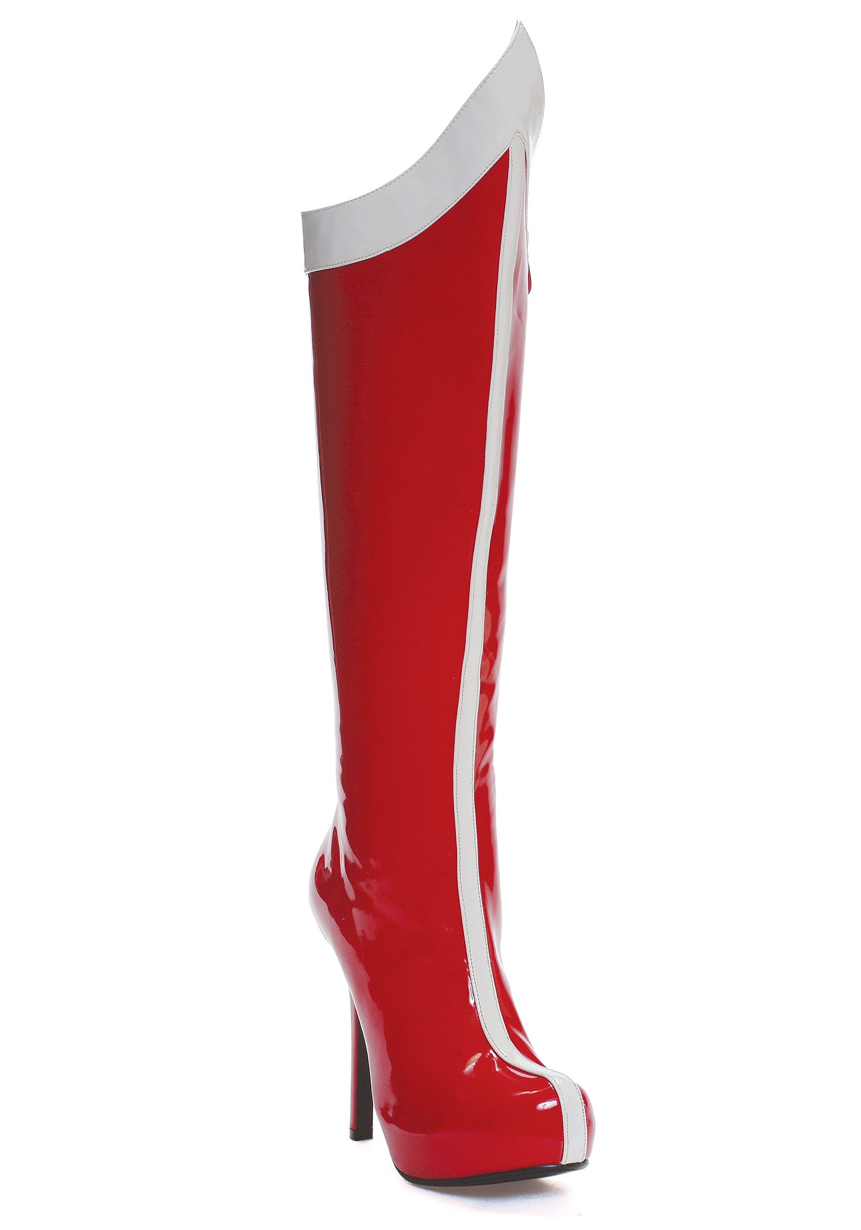 Red and White Superhero Costume Boots