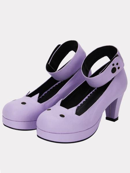 Milanoo Matte Purple Lolita Chunky Heels Shoes Tea Party Shoes Ankle Strap Round Toe