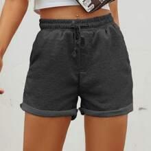 Drawstring Rolled Hem Shorts
