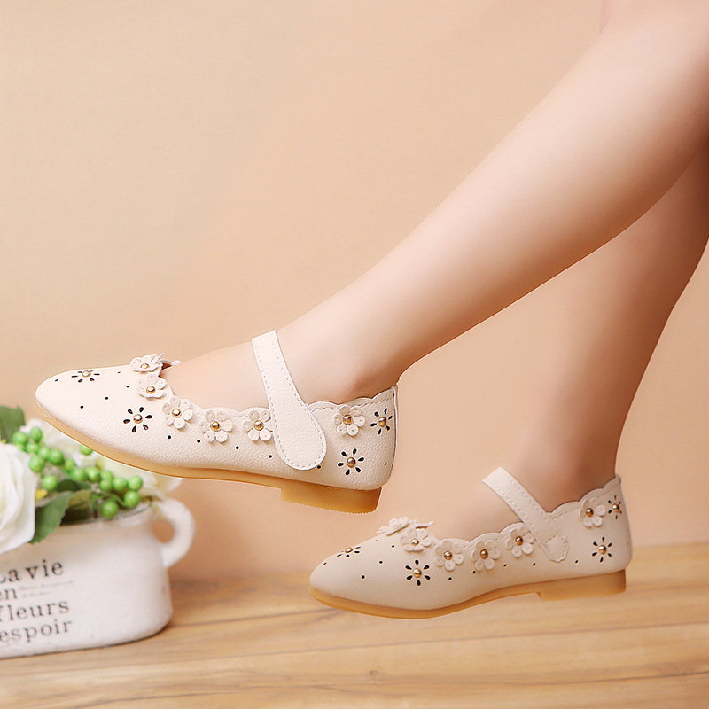 Girls Floral Decor Hollow Princess Hook Loop Mary Jane Shoes