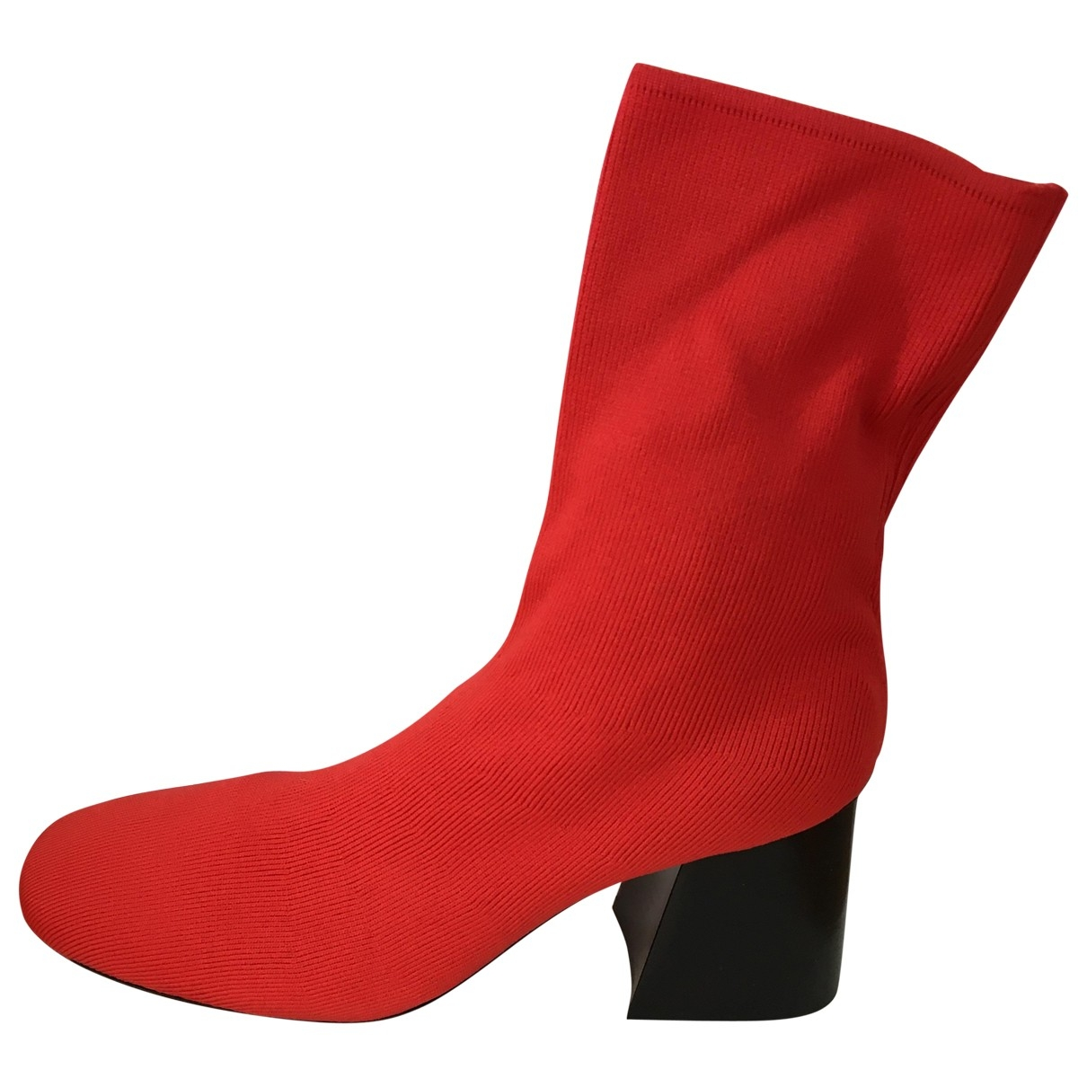 Celine \N Red Cloth Ankle boots for Women 38.5 EU
