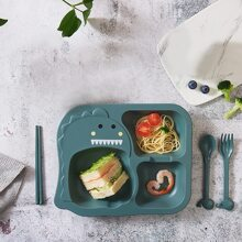 4pcs Kids Plate & Spoon & Fork & Chopstick Set