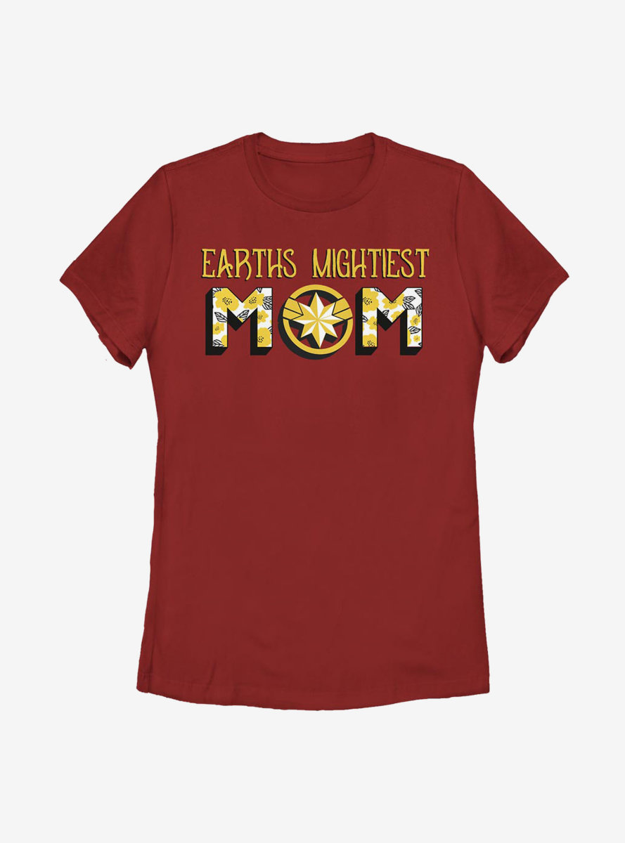 Marvel Captain Marvel Earth's Mightiest Mom Womens T-Shirt