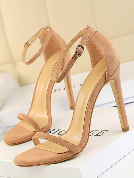 Milanoo High Heel Sandals Womens Black Open Toe Ankle Strap Sandals Stiletto Heels Sandals