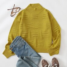 High Neck Drop Shoulder Sweater