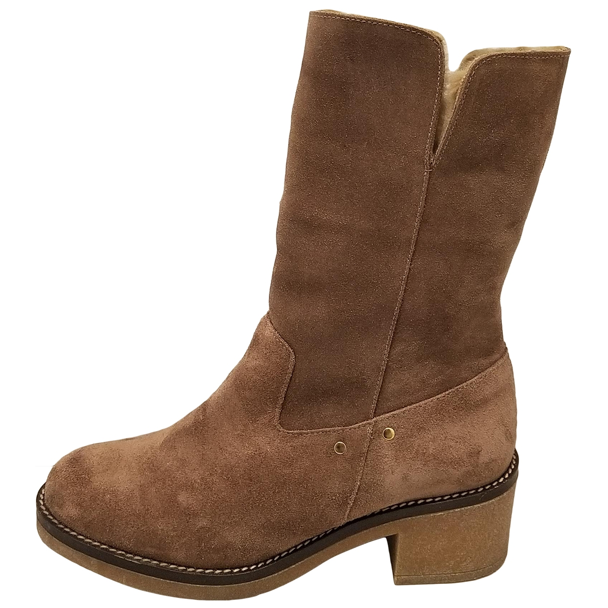 Non Signé / Unsigned \N Brown Leather Ankle boots for Women 37 EU