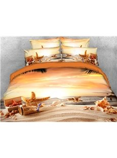 Wishing Bottle On The Beach At Sunset 3D Printed 4-Piece Polyester Bedding Sets/Duvet Covers