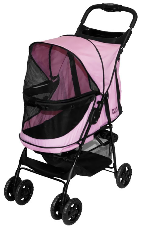 Pet Gear Happy Trails No-Zip Stroller - Pink Diamond