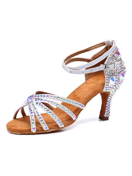 Milanoo Satin Dancing Shoes White Open Toe Rhinestones Criss Cross Ballroom Shoes Latin Dance Shoes