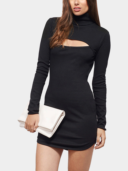 Yoins Turtleneck Dress with Cut Out Detail