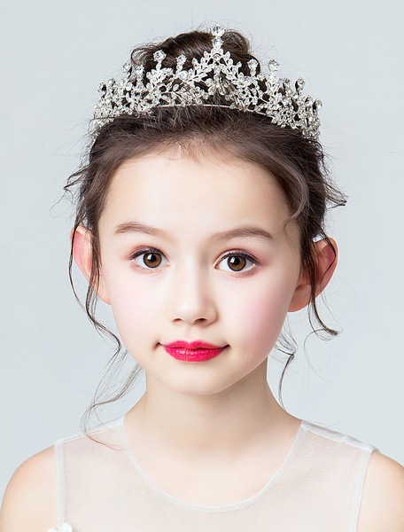 Milanoo Flower Girl Tiara Crown Rhinestone Headpieces Silver Kids Hair Accessories
