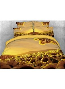 Vigorous Sunflower Printed 3D Warm 4-Piece Bedding Sets/Duvet Covers
