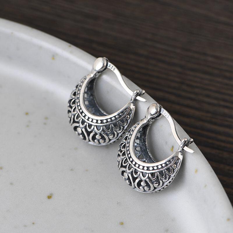 Vintage 925 Sterling Silver Matte Earring Hollow Flower Ear Stud Women Jewelry Gift