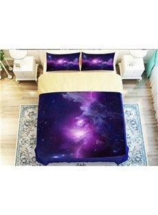Wonderful Purple Galaxy Print 4-Piece Polyester Duvet Cover Sets