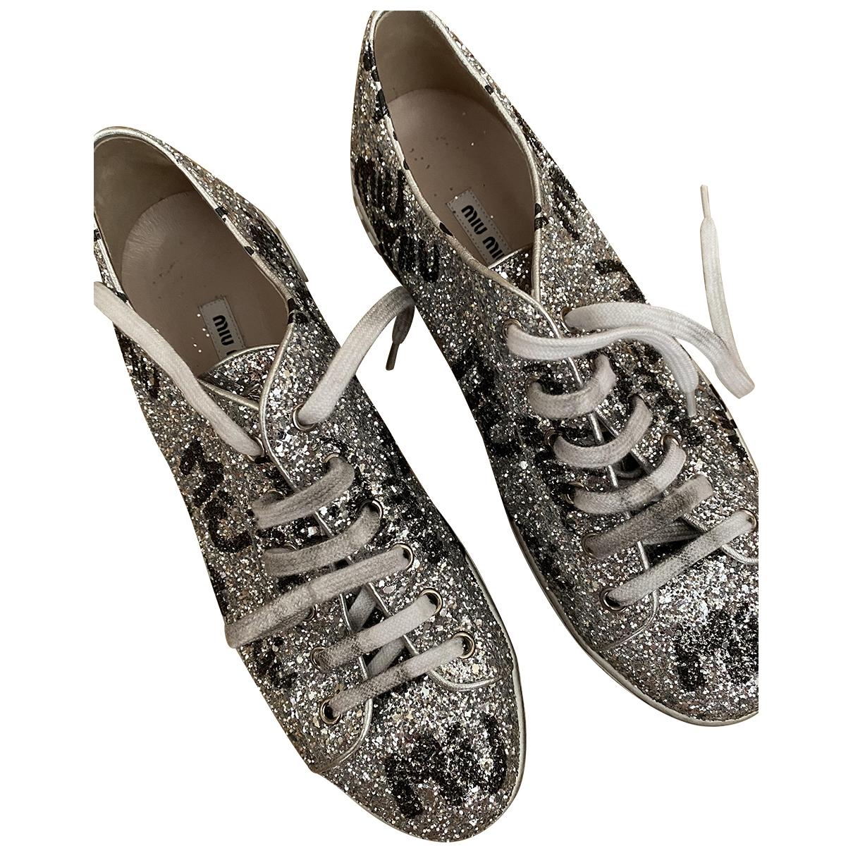 Miu Miu \N Silver Glitter Trainers for Women 41 IT
