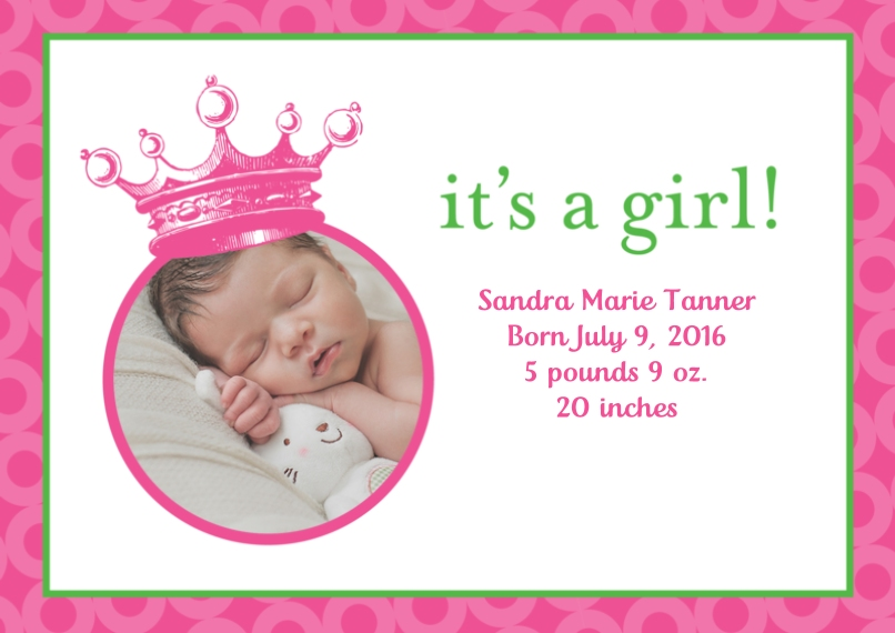 Newborn 5x7 Cards, Premium Cardstock 120lb, Card & Stationery -Posh Paper Princess Baby Crown