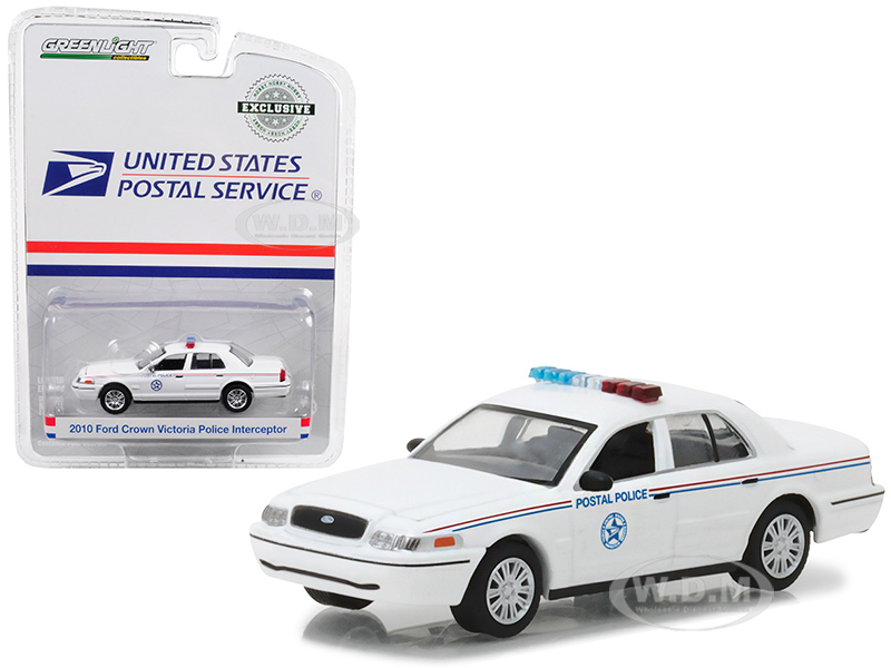 2010 Ford Crown Victoria United States Postal Service (USPS) Police White Hobby Exclusive 1/64 Diecast Model Car by Greenlight