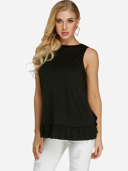 Yoins Black Lace Details Crew Neck Tank Top