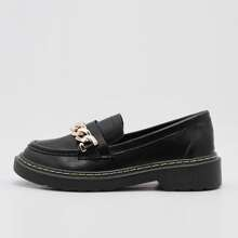 Chain Decor Slip On Loafers