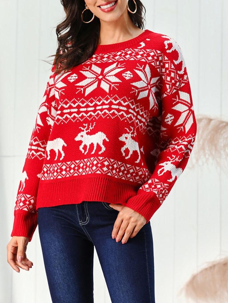Ericdress Regular Regular Mid-Length Christmas Women's Sweater
