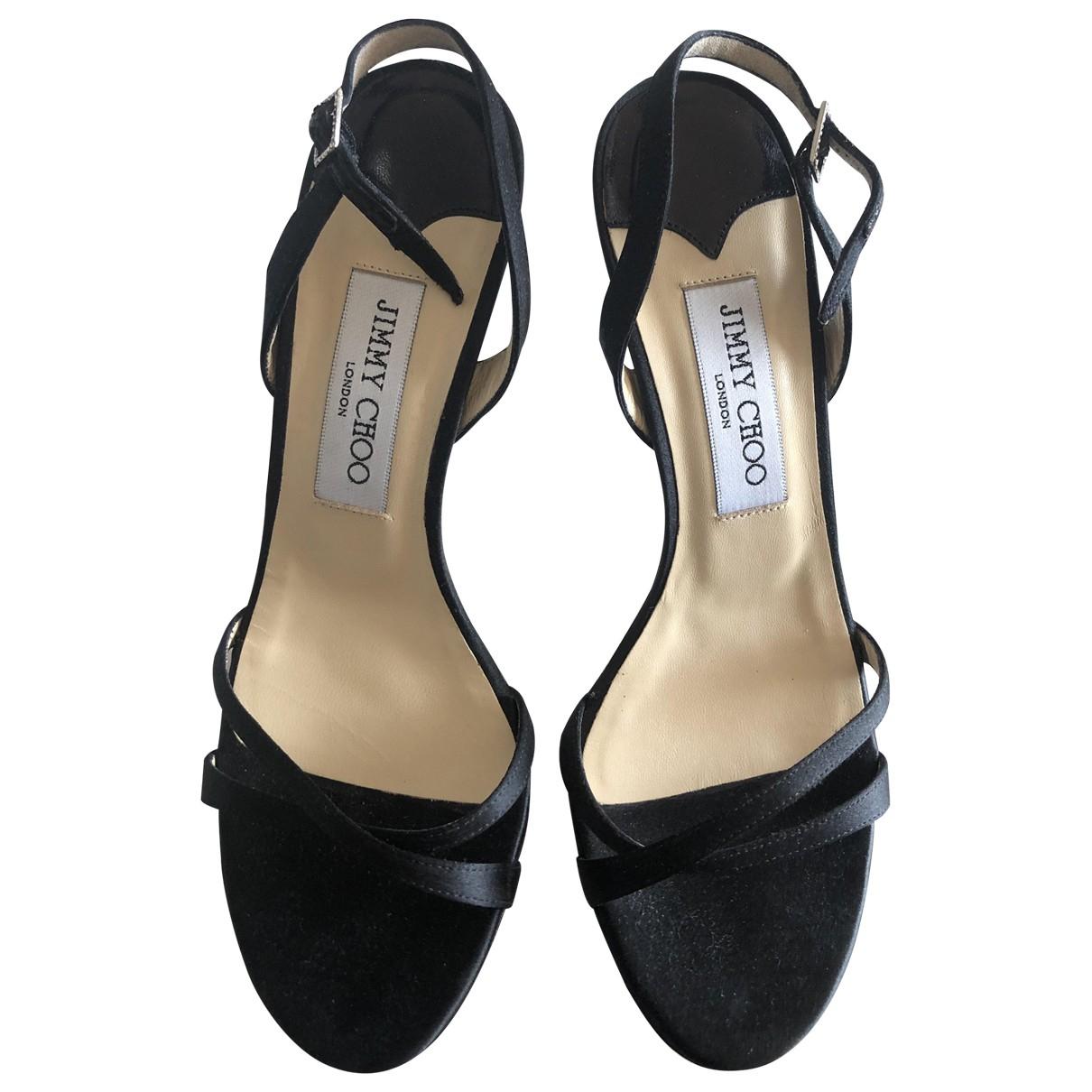 Jimmy Choo N Black Cloth Sandals for Women 37.5 EU