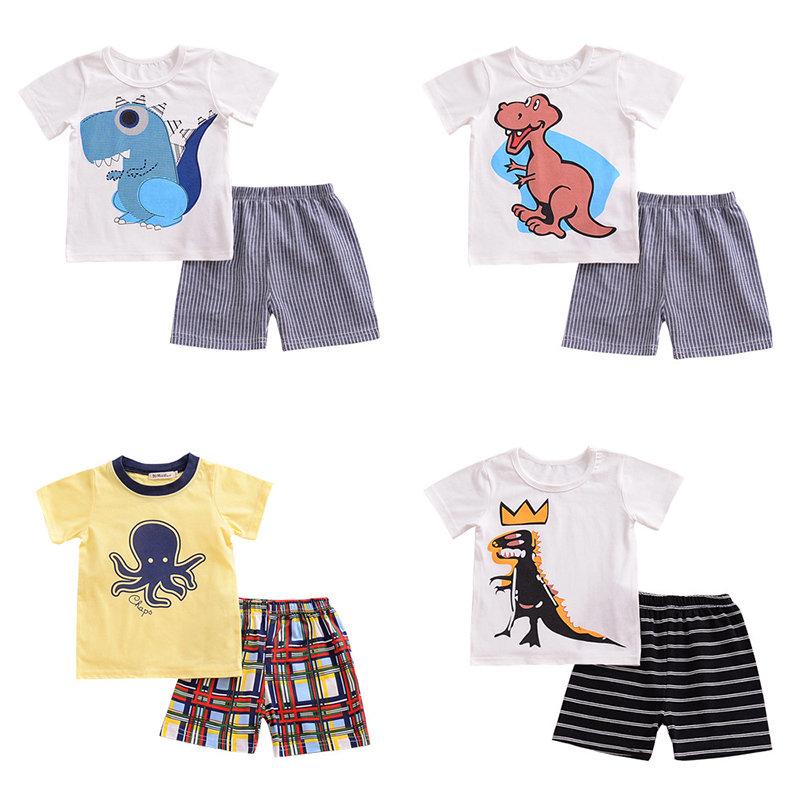 2Pcs Cartoon Print Boys Clothing Set Toddlers Kids Cotton T-shirt + Shorts For 1Y-9Y