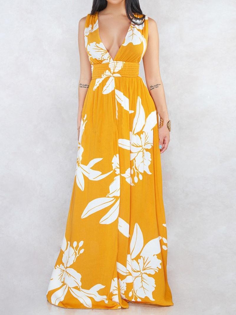 Ericdress Expansion Plant Backless Sleeveless V-Neck High Waist Maxi Dress
