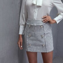 Button Front Tweed Skirt