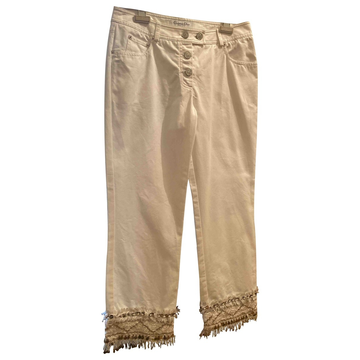 Dior \N White Cotton Trousers for Women 38 FR