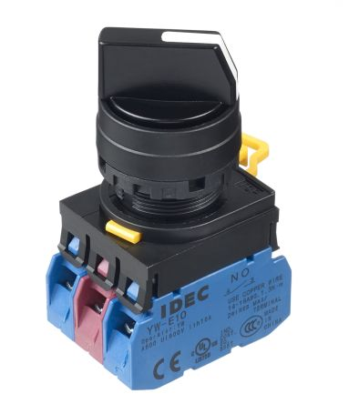 Idec 3 Position Spring Return Selector Switch Complete - (2NO/NC) 22mm Cutout Diameter, Illuminated