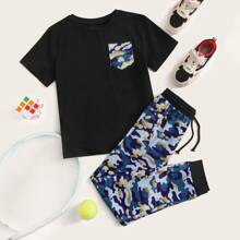 Boys Pocket Patched Tee and Drawstring Waist Camo Joggers Set