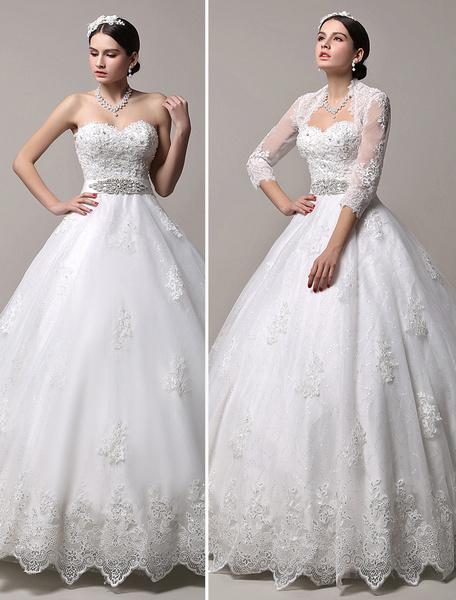 Milanoo Princess Wedding Dresses Strapless Sweetheart Neckline Bridal Dress Rhinestones Beaded Floor Length Wedding Gown With Jacket Long Sleeve