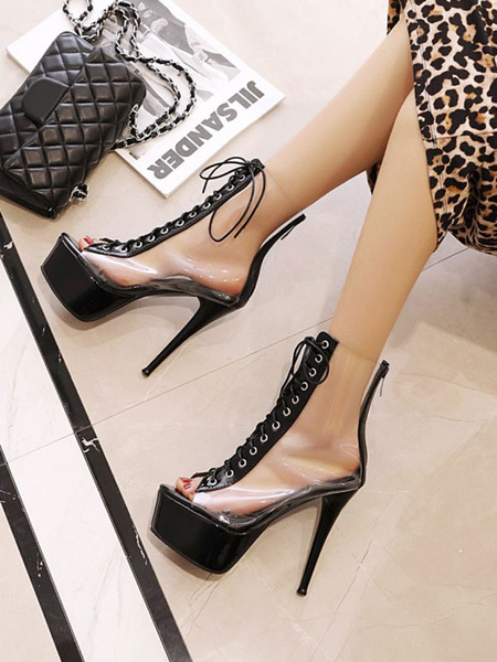 Milanoo High Heel Sexy Sandals Green PVC Upper Round Toe Sexy Shoes
