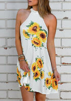 Sunflower Open Back Halter Mini Dress - White