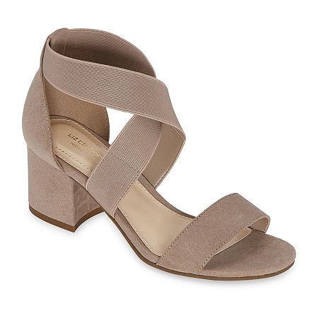 Liz Claiborne Womens Eaves Heeled Sandals, 10 Medium, Beige