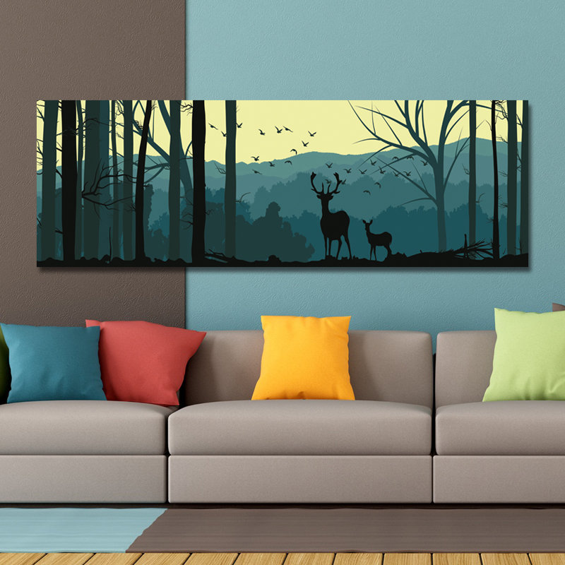 Single Spray Oil Paintings Cartoon Deer Forest Landscape For Home Decoration Paintings Wall Art