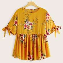 Plus Knotted Cuff Floral Print Smock Top