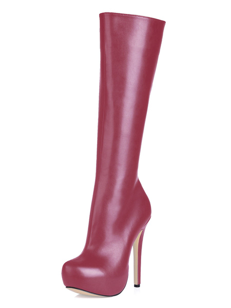 Milanoo Women Black High Knee boots Women's Platform Round Toe Zip Up wide calves Leather Office Winter Boots