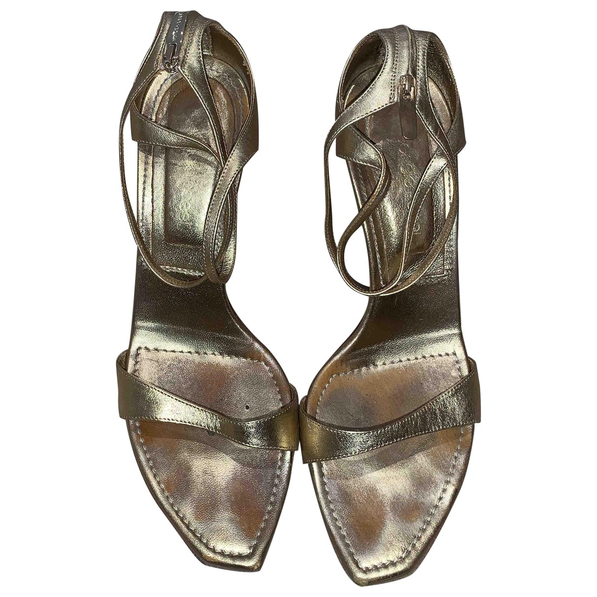 Sergio Rossi \N Gold Leather Sandals for Women 38 EU