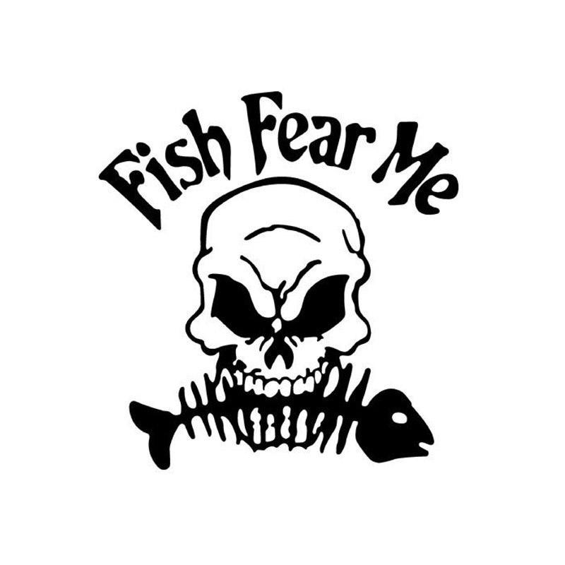 Cartoon Style The Horrific Skull Bit The Fish Bone Go Fishing Car Sticker