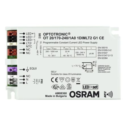 Osram OPTOTRONIC NFC AC-DC Constant Current LED Driver 22W 10 → 38V