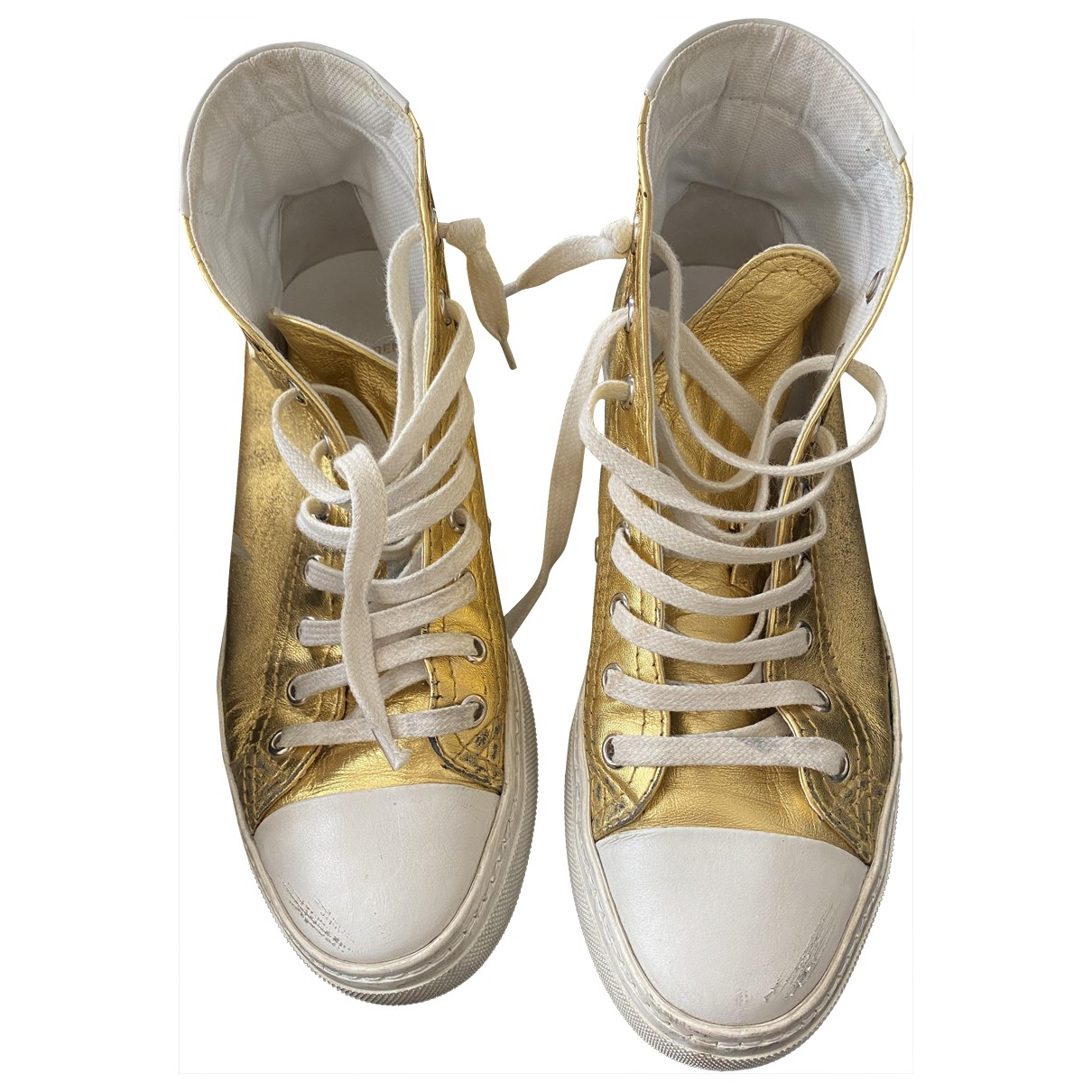 Saint Laurent Bedford Gold Leather Trainers for Women 37 EU