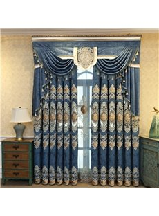 Elegant Embroidery Crushed Velvet Curtains Super Heavy and Soft Handy Feeling Eco-friendly Blocks Out Noise Reducing Privacy Protection and Energy Eff