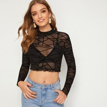 Mock-Neck Lettuce Trim Geo Mesh Top Without Bra