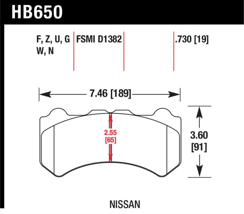 Hawk Performance HB650V.730 Disc Brake Pad Nissan GTR Front 2009-2016